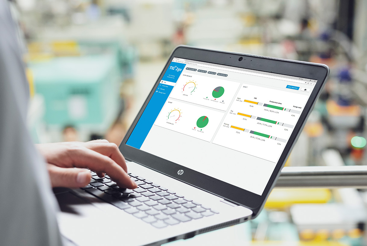 "Software ""TIG 2go"" auf Laptop"