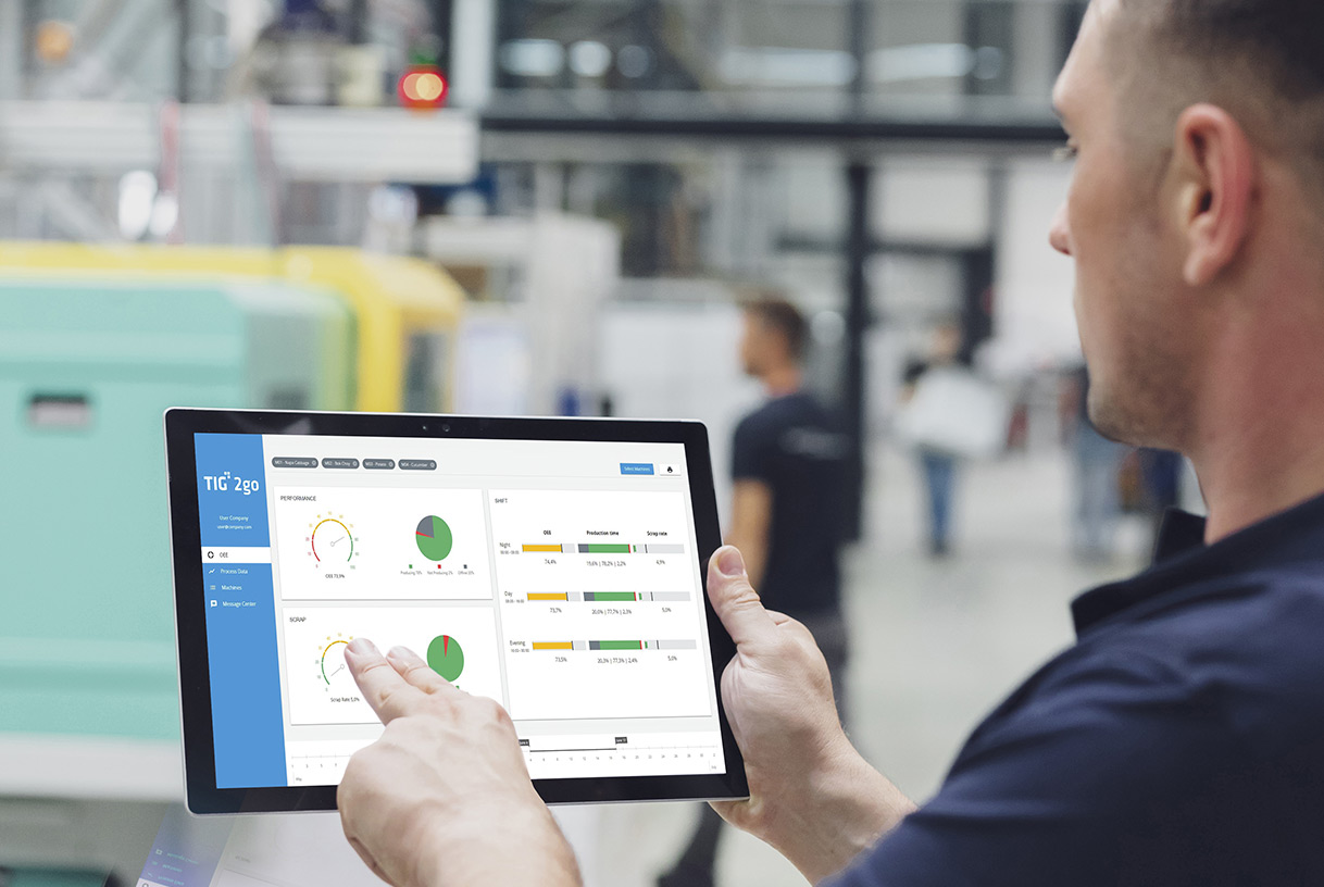 "Software ""TIG 2go"" auf Tablet"